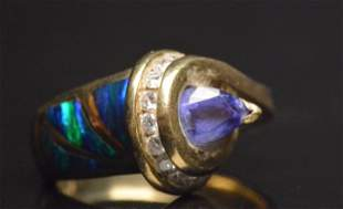 14K Yellow Gold Ring Tanzanite, Opal & Diamonds