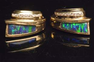 14K Yellow Gold Earrings W/ Opal Inlay & Diamonds