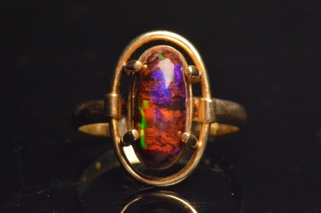 14K Yellow Gold Ring W/ Black Opal