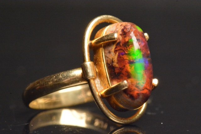 14K Yellow Gold Ring W/ Black Opal - 2