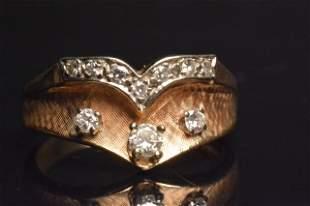 14K Yellow & White Gold Ring W/ Diamonds