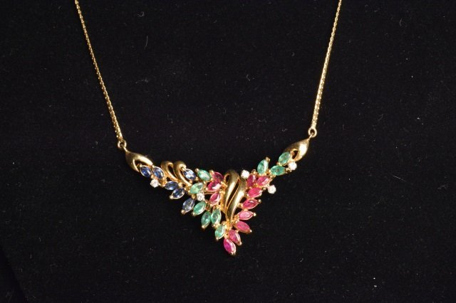 14K Yellow Gold Necklace W/ Gemstones & Diamonds