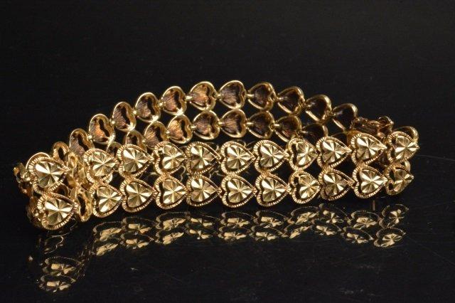 14K Yellow Gold Double Heart Shaped Bracelet