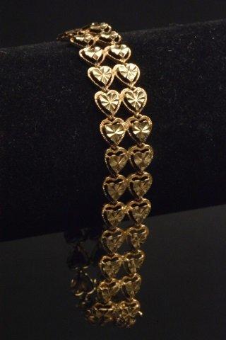 14K Yellow Gold Double Heart Shaped Bracelet - 2