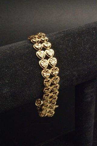 14K Yellow Gold Double Heart Shaped Bracelet - 3