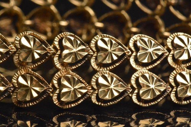 14K Yellow Gold Double Heart Shaped Bracelet - 4