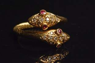 18K Yellow Gold Double Head Snake Ring