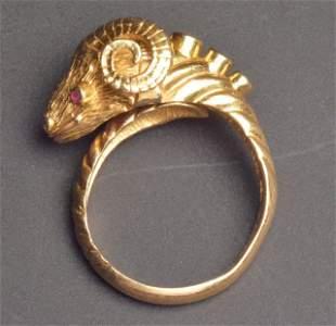 18K Yellow Gold Ram Ring