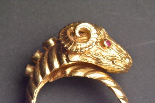 18K Yellow Gold Ram Ring - 3