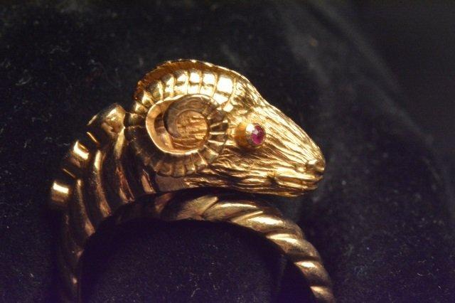 18K Yellow Gold Ram Ring - 4
