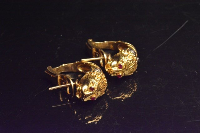 18K Yellow Gold Earrings W/ Diamonds - 2