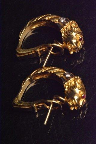 18K Yellow Gold Earrings W/ Diamonds - 3