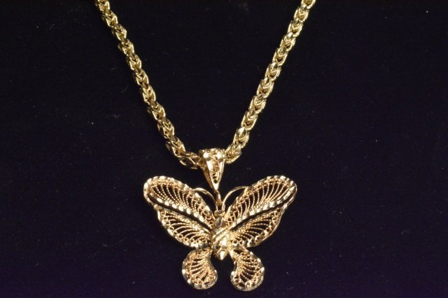 14K Yellow Gold Diamond Cut Butterfly on Chain