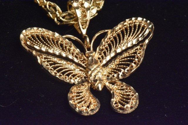 14K Yellow Gold Diamond Cut Butterfly on Chain - 2