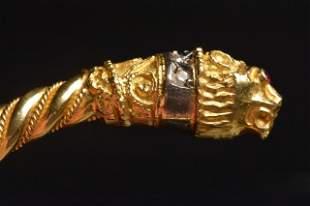 18K Yellow Gold Cuff Bracelet Lions Heads