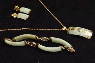 Jade Bracelet, Earrings & Pendant Necklace