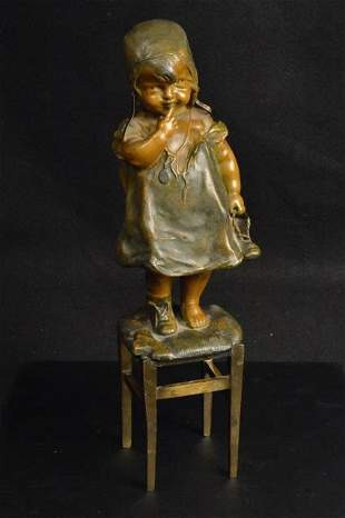 Bronzed Metal Young Girl On Chair Statue