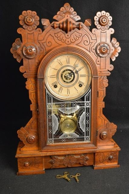 Gingerbread Wm. L. Gilbert Clock Co. Mantel Clock