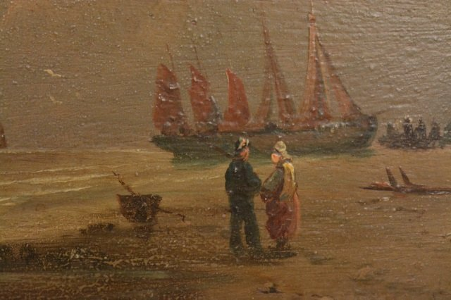 Ships at Sea Oil Painting on Board - 3