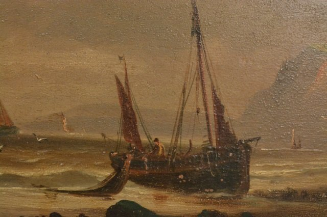 Ships at Sea Oil Painting on Board - 4