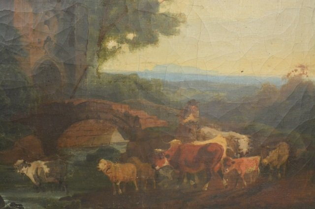 Cows in Valley Near Cliff Oil Painting On Board - 3