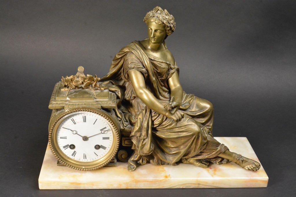 Lady Bronzed Mantel Clock W/ Marble Base