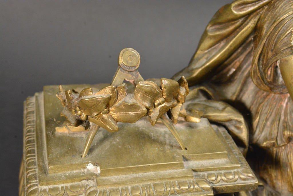 Lady Bronzed Mantel Clock W/ Marble Base - 3