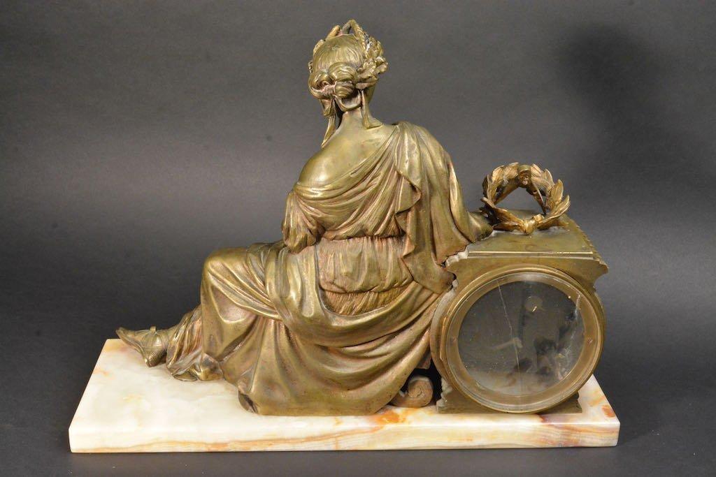 Lady Bronzed Mantel Clock W/ Marble Base - 5