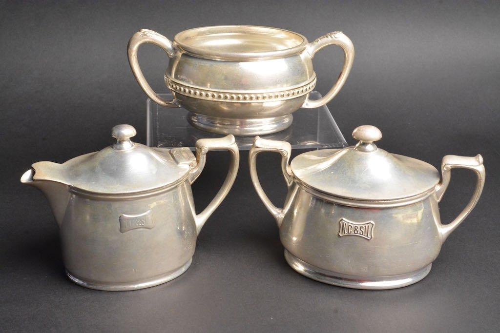 1900's N.C. & St. L RR Soldered Silver Creamer & Sugar