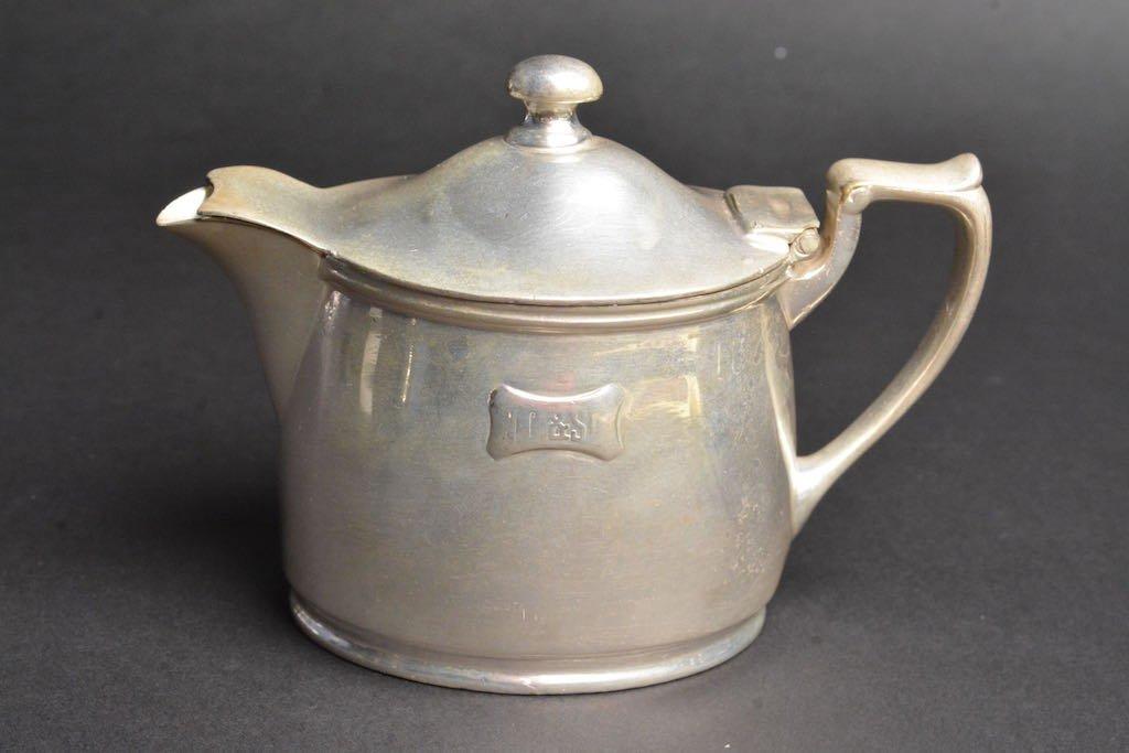 1900's N.C. & St. L RR Soldered Silver Creamer & Sugar - 2