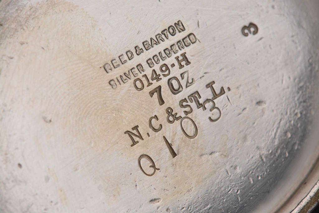 1900's N.C. & St. L RR Soldered Silver Creamer & Sugar - 4
