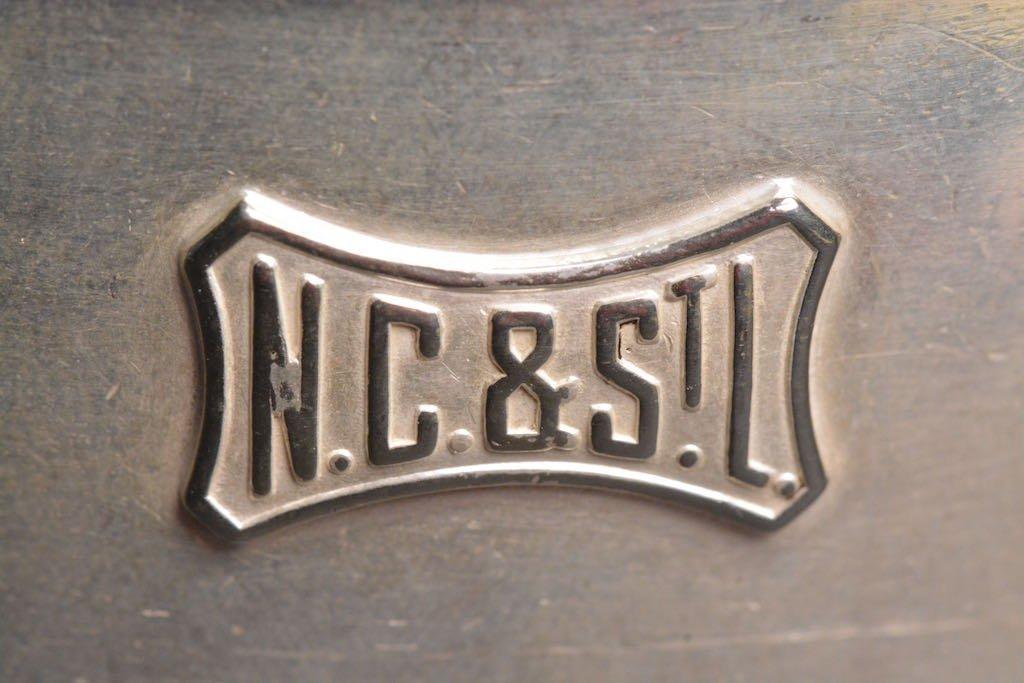 1900's N.C. & St. L RR Soldered Silver Creamer & Sugar - 6