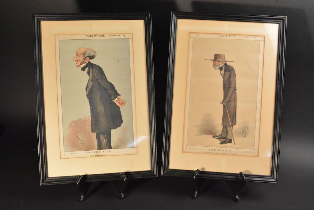 (2) Vanity Fair British Magazine Framed Caricatures