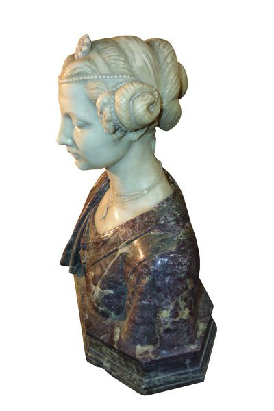 Italian Carved Marble Bust Signed Piccaron - 3
