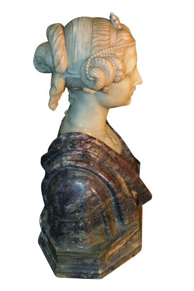 Italian Carved Marble Bust Signed Piccaron - 4