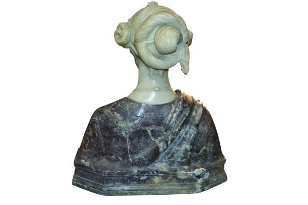 Italian Carved Marble Bust Signed Piccaron - 5