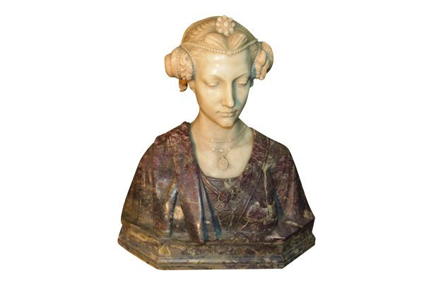 Italian Carved Marble Bust Signed Piccaron - 6