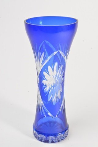 Cobalt Hour Glass Cut to Clear Vase