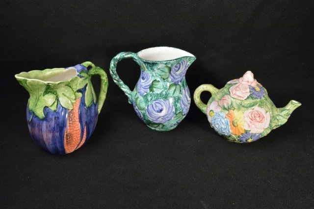 (3) Hand Painted Italy Pitchers / Teapot