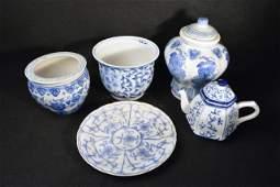 5 Blue  White Porcelain Ceramic Pieces