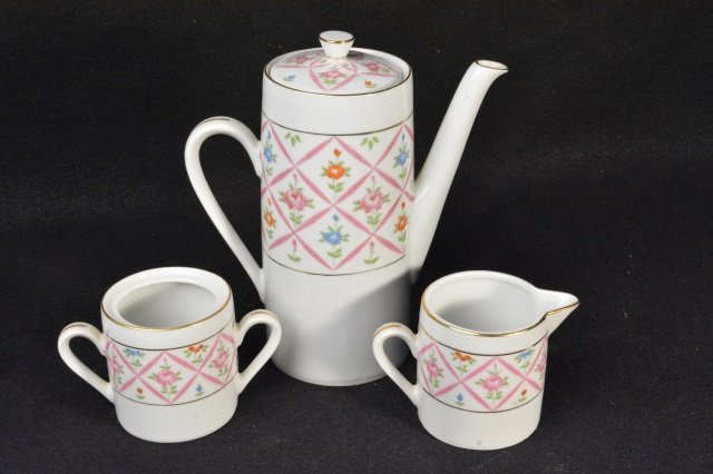 Hand Painted Lefton China Coffee Set - Pattern 3187