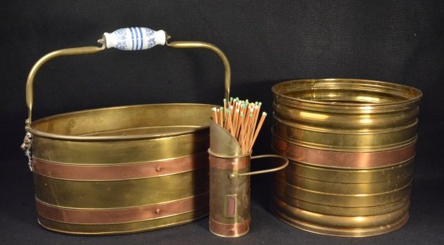 (3) Brass w/ Copper Banding Fireplace Accessories