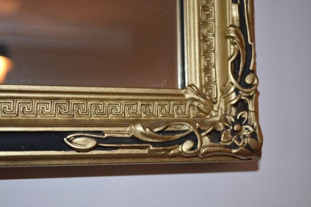 Greek Key Design Gilt Mantle Mirror - 2