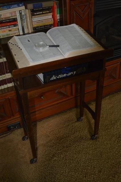Encyclopedia Wood Book Stand W/ Encyclopedia