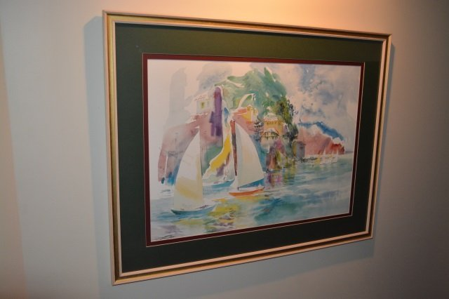 Sailboat Watercolor Art Print Framed & Matted