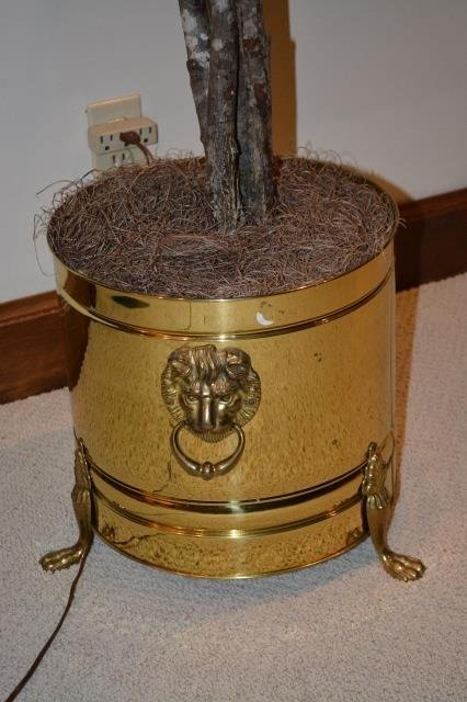 Brass Lions Head Knocker Footed Planter