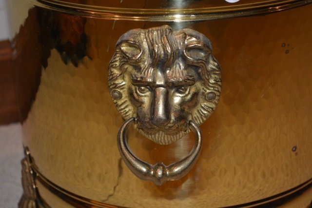 Brass Lions Head Knocker Footed Planter - 2