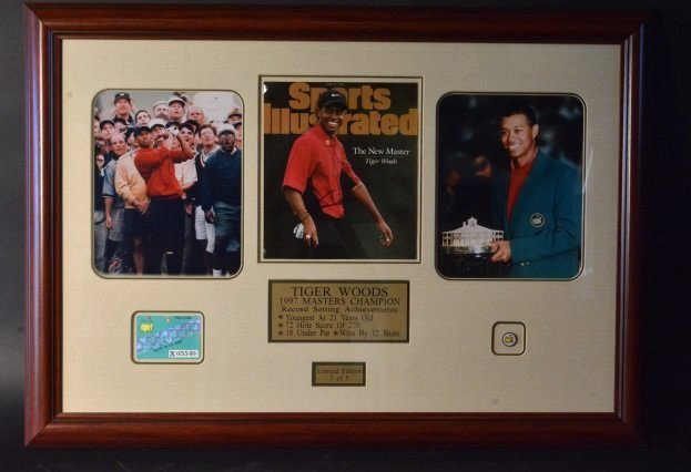 Tiger Woods 1997 Master's Collage Signed COA