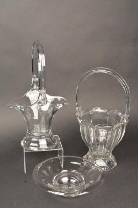 (3) Heisey Glass Pieces - Baskets & Bowl