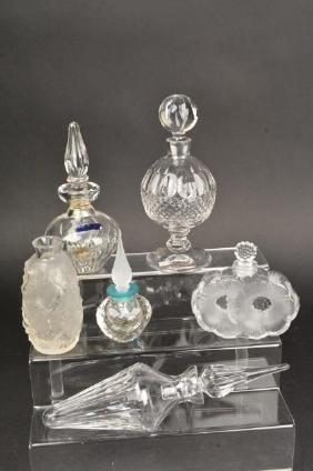 (5) Perfume Bottles- Lalique, Waterford, Swarovski